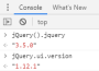strap:jquery_version_browser_console.png